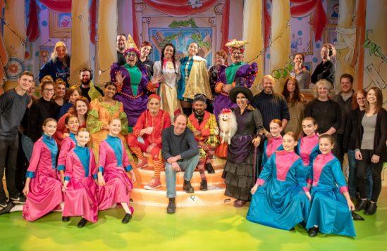 The cast and crew of Cinderella at Oldham Coliseum's press night. Photo: Darren Robinson
