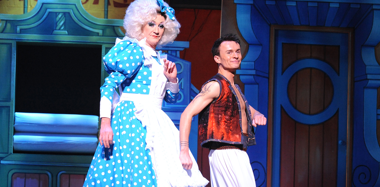 Paul O'Grady (Lily Savage) and Jon Lee in Aladdin. Photo: Alastair Muir