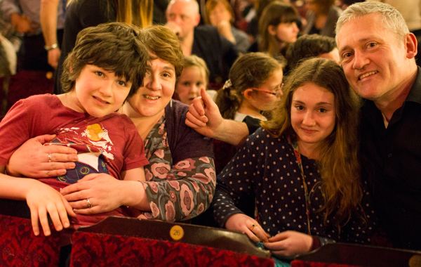 The Stage contributor Lisa Martland and ex-editor Brian Attwood at the Lion King performance with their daughter and son who has autism. Photo: Helen Maybanks
