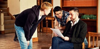 Paul Taylor-Mills, rehearsing Bare at Greenwich Theatre in 2013 with Michael Vinsen and Ross William Wild. Photo: unknown