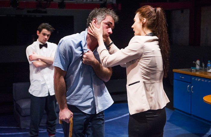 Jack McMullen, Greg Wise and Charlotte Harwood in Kill Me Now by Brad Fraser at London's Park Theatre. Photo: Tristram Kenton