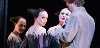 Claudia Huckle, Nadezhda Karyazina, Sinead Mulhern and Toby Spence (Tamino) in Die Zauberflote by Mozart, Royal Opera House