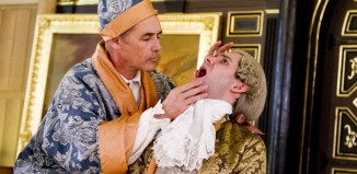 Mark Rylance (King Philippe) and Sam Crane (Farinelli) in Farinelli and the King. Photo: Tristram Kenton
