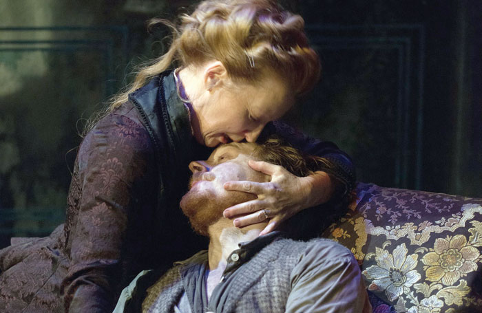 Lesley Manville and Jack Lowden in Ghosts at Trafalgar Studios, London. The play is now available to watch at www.digitaltheatre.com