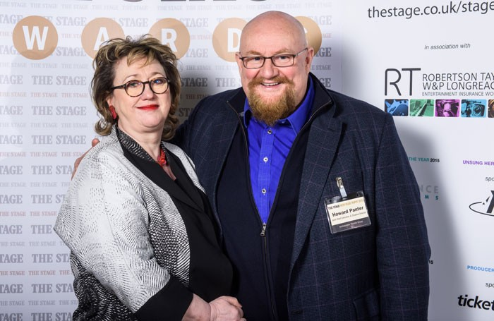ATG's Rosemary-Squire and Howard-Panter pictured at The Stage New Year Party 2015. Photo: Alex Brenner