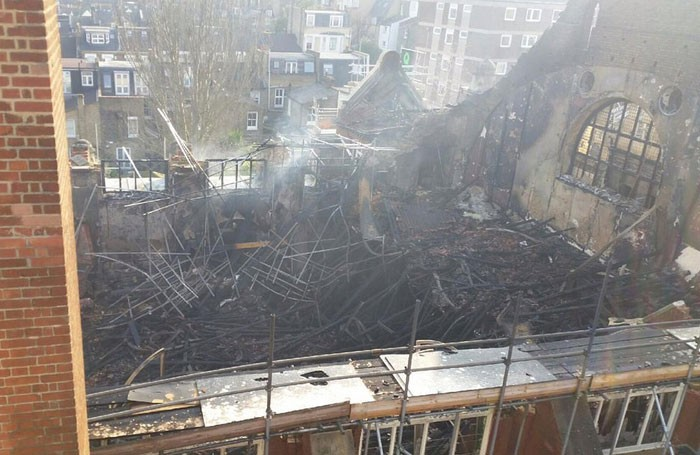 The aftermath of the BAC fire. Photo: London Fire Brigade