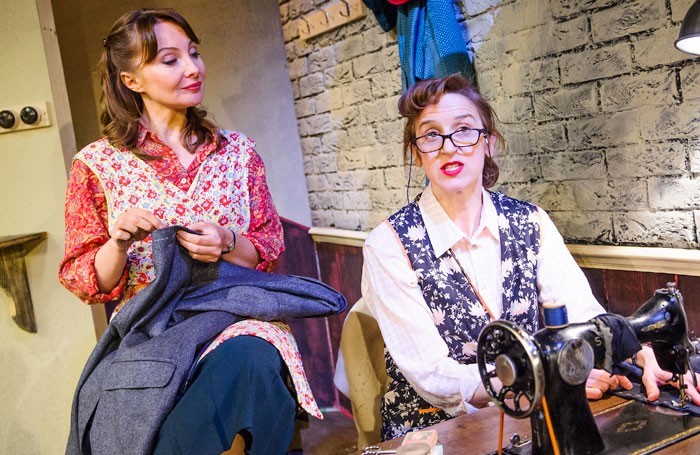 Alexis Caley and Abigail Thaw in The Cutting Of The Cloth at the Southwark Playhouse, London. Photo: Tristram Kenton
