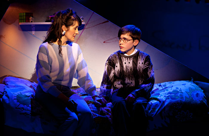 Kirsty Hoiles and Joel Fossard-Jones in Curve's The Secret Diary of Adrian Mole Aged 13 3⁄4. Photo: Pamela Raith