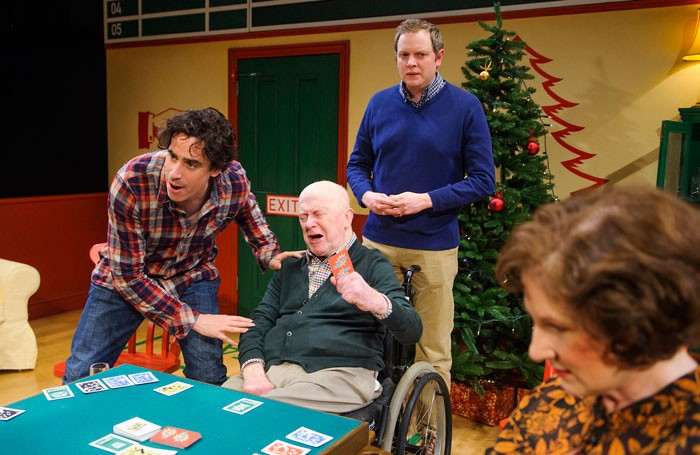 Stephen Mangan, John Rogan, Miles Jupp and Deborah Findlay in Rules For Living at the Dorfman, National Theatre. Photo: Tristram Kenton
