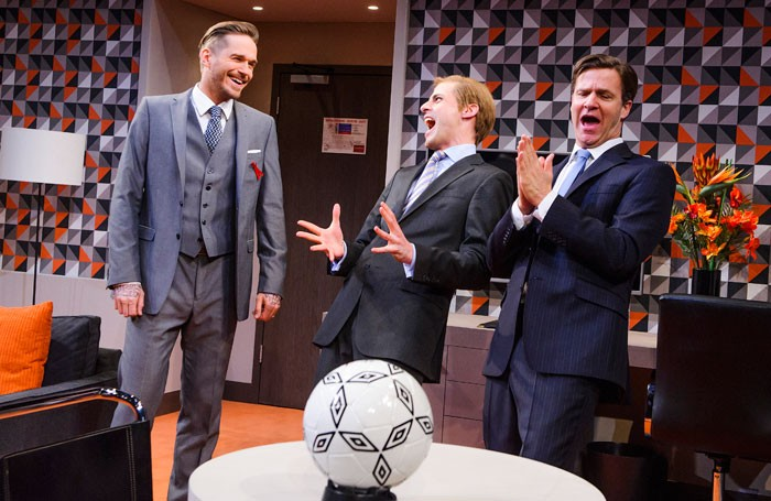 Sean Browne, Tom Davey and Dugald Bruce-Lockhart in Three Lions by William Gaminara, St James Theatre, London