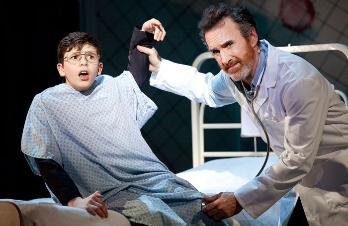 Toby Murray (left) in a scene from Adrian Mole, Curve Leicester. Photo: Pamela Raith Photography