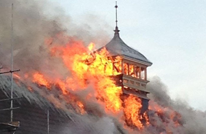 Battersea Arts Centre on fire. Photo: Paul Foxcroft (via Twitter)