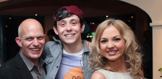 Chris Hardman, centre, with Loserville director Steven Dexter and cast member Lauren Hall.
