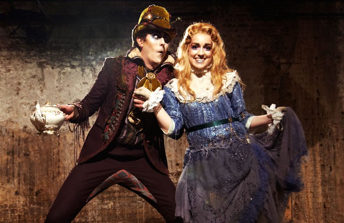 Philip Bosworth and Josephine Rattigan in Adventures in Wonderland at the Vaults, London. Photo: Jason Joyce