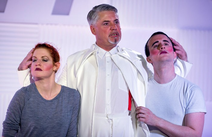 Mark Little (centre) in Shock Treatment at the King's Head Theatre, London. Photo: Peter Langdown