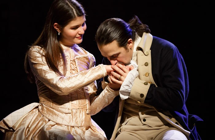 Phillipa Soo and Lin-Manuel Miranda in Hamilton. Photo: Joan Marcus
