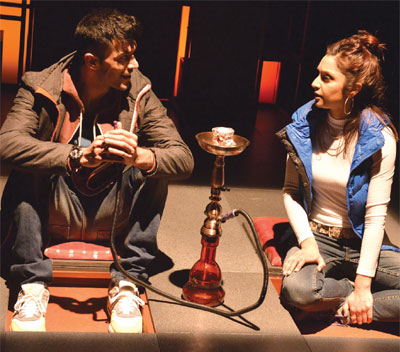 Adam Samuel-Bal and Krupa Pattani in Tamasha Theatre Company's production of Emteaz Hussain's Blood, currently touring nationwide. Photo: Robert Day