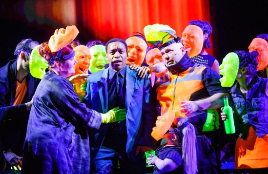 Chiwetel Ejiofor leading the cast of Everyman at the Olivier, National Theatre. Photo: Tristram Kenton