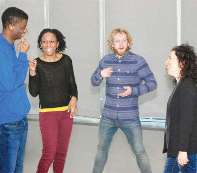 Jamal Ajala, Donna Mullings and Ian Street with Paula Garfield in rehearsals for Something Else. Photo: Helen Albert