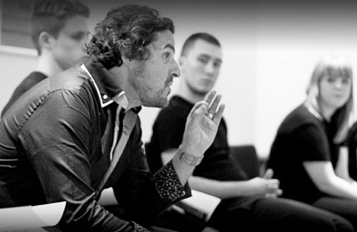 James Bowden, co-founder and principal of Dorset School of Acting with students