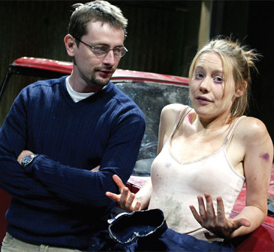 Matthew Delamere and Kellie Shirley in Fin Kennedy's Protection at Soho Theatre in 2003. Photo: Tristram Kenton