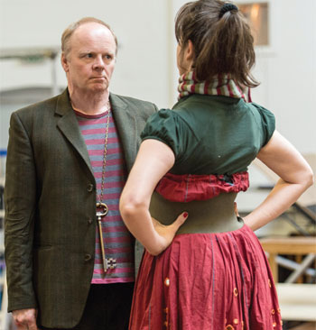 Jason Watkins in rehearsals for The Twits with Christine Entwisle. Photo: Manuel Harlan