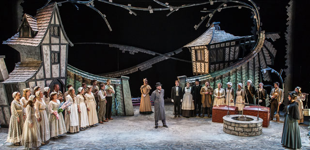 Students on Guildhall School of Music and Drama's summer school course in opera stage management worked on GSMD's The Cunning Peasant last year. Photo: Clive Barda