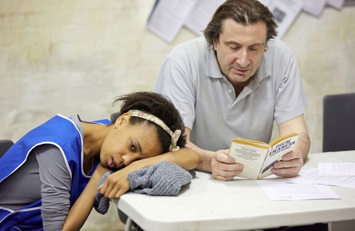 Janet Etuk and Sean O'Callaghan in Beyond Caring at the National's Temporary Theatre, London. Photo: Mark Douet