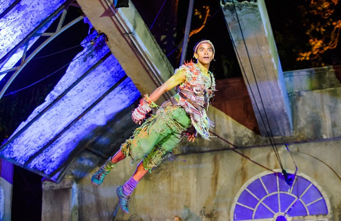 Hiran Abeysekera in Peter Pan at Regent's Park Open Air Theatre, London. Photo: Tristram Kenton