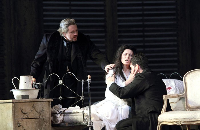 Franco Vassallo, Marina Rebeka and Ismael Jordi in La Traviata at the Royal Opera House. Photo: Catherine Ashmore