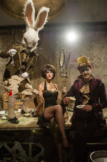 Mark Stevenson as White Rabbit, Grace Carter as the March Hare and Hayden Wood as The Mad Hatter. Photo: Jane Hobson