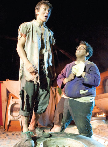 Alistair Toovey and George Bukhari in Lord of the Flies at Regent's Park Open Air Theatre in 2011. Photo Tristram Kenton