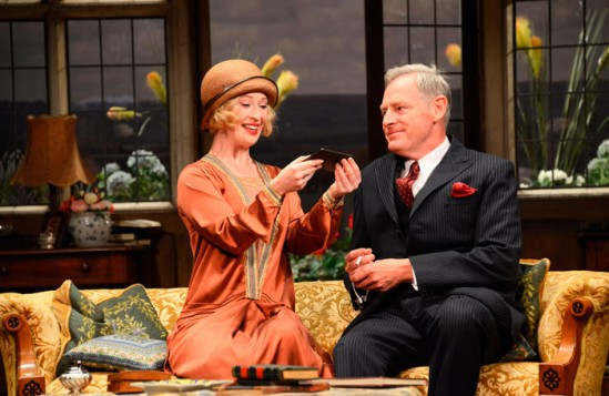 Celeste Dodwell and Michael Simkins in Lindsay Posner's Hay Fever. Photo: Nobby Clark
