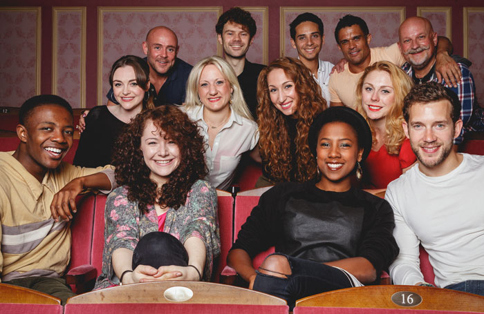 The cast of Elegies: Adam Stafford, Matthew Wycliffe, Gary Wood, Kurt Kansley, Graham Hoadly (back), Cassie Compton, Katie Paine, Emma Kingston, Kelly Price (middle), Omari Douglas, Lauren Ingram, Jade Anouka and Nick Hendrix (front) at the Criterion