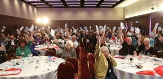 Equity members voting on a motion. Photo: Phil Adams