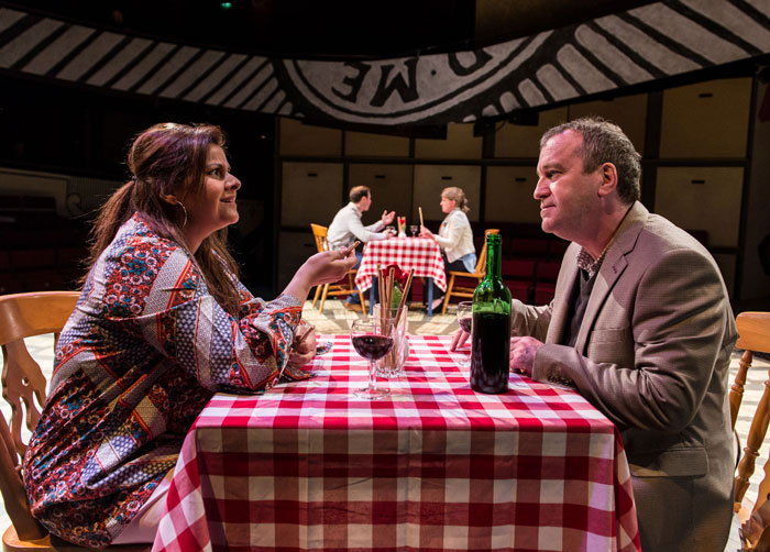 Nina Wadia and Mark Hadfield in Frayn's Matchbox Theatre, now running at the Hampstead Theatre, London. Photo: Manuel Harlan