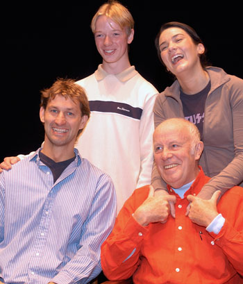 GENESIS PIC 1 Footballer Tony Adams (front, left) and actor Richard Wilson (front, right) with some of the participants in the 2002 Royal Court Young Writers Festival. Photo Julian Brooks
