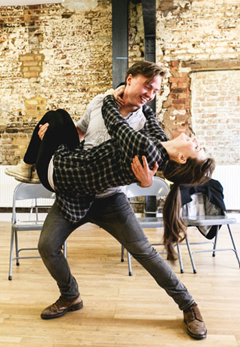 Joseph Prowen and Jennifer Kirby in rehearsal for Teddy. Photo: Darren Bell