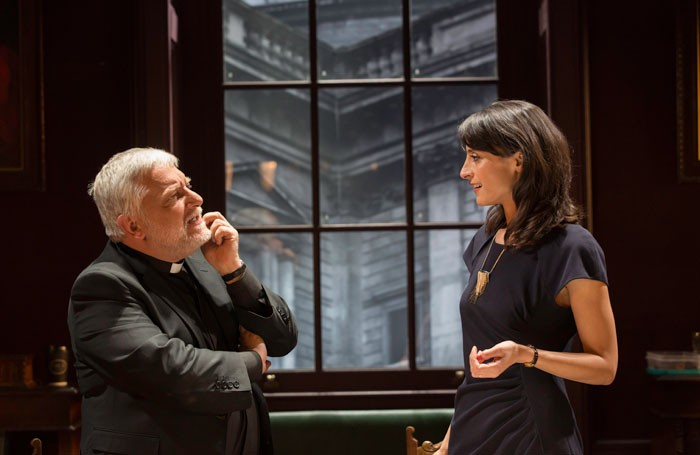 Simon Russell Beale and Shereen Martin in Temple at the Donmar Warehouse, London. Photo: Johan Persson