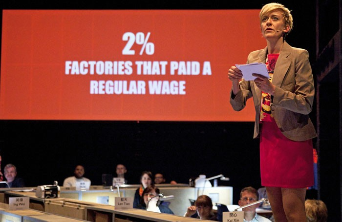 Lucy Ellinson in World Factory, Young Vic