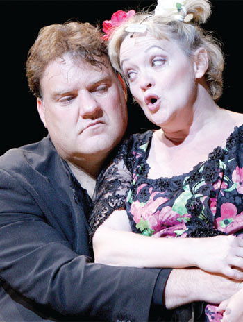 Maria Friedman, with Bryn Terfel, plays Mrs Lovett in Sweeney Todd at the Royal Festival Hall, London, in 2007. Photo: Tristram Kenton