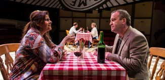 Nina Wadia and Mark Hadfield in Matchbox Theatre at Hampstead. Photo: Manuel Harlan