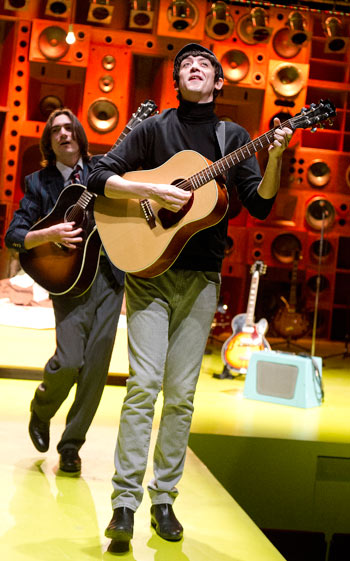 George Maguire and John Dagleish in Sunny Afternoon at Hampstead Theatre.  Photo: Tristram Kenton