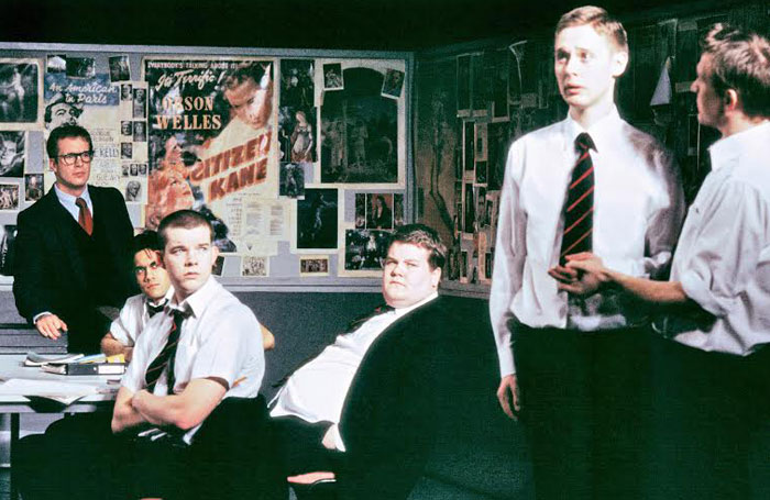 Geoffrey Streatfeild, Sacha Dhawan, Russell Tovey, James Corden, Samuel Barnett and Jamie Parker in The History Boys in 2004. Photo: Stephen Cummiskey