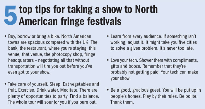 5 top tips for taking a show to North American fringe festivals