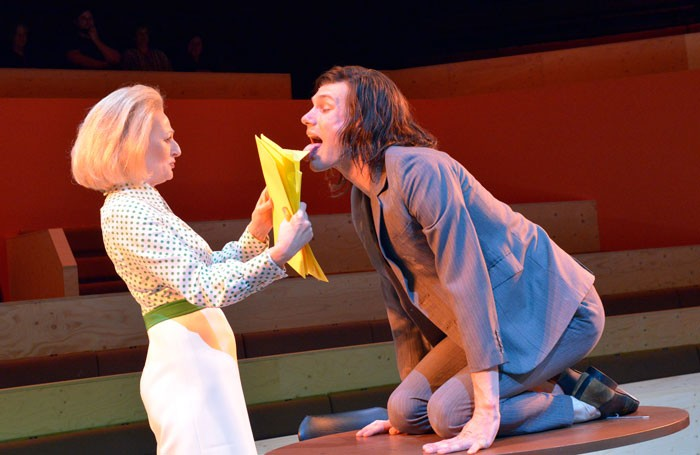 Sian Thomas and Hugh Skinner in The Trial at the Young Vic Theatre, London. Photo: Keith Pattison