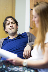 Alistair McGowan and Charlotte Page in rehearsal for An Audience With Jimmy Savile. Photo: Helen Maybanks