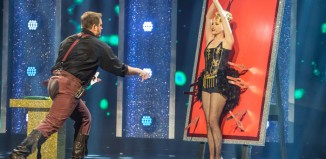Knife thrower Jack Dagger and his assistant the Unkillable Jenny in ITV's Sunday Night at the Palladium. Photo: ITV