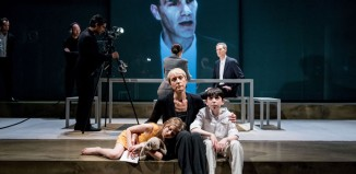 Eve Benioff Salama, Lia Williams, Ilan Galkoff and Angus Wright in Oresteia at the Almeida Theatre. Photo: Manuel Harlan
