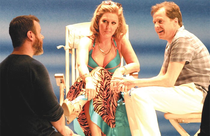 Mazz Murray and Alasdair Harvey in rehearsals for Mamma Mia!. Photo Clayton Smith